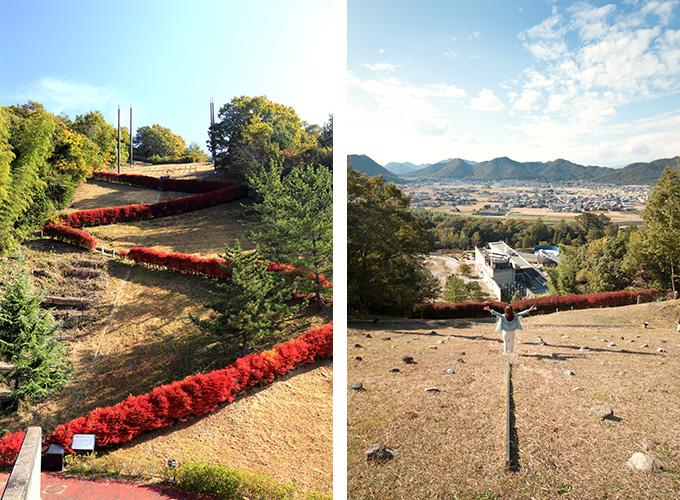 日本のへそモニュメントの眺め